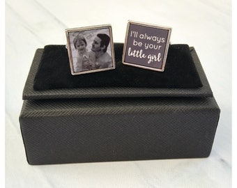 Father of the Bride square personalised photo wedding cufflinks - Little Girl