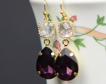 Gold blush purple Eggplant Earrings Gold Purple Earrings Bridesmaid Earrings Wedding Earrings Wedding Jewelry Plum Bridesmaid Jewelry gift