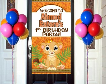 King of the Jungle Party Birthday Door Banner  ~ Personalized Lion Birthday Party Banner, Lion King Birthday Banner, King of the Jungle