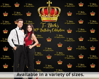 Crown Royal Black Personalized Photo Backdrop - Royal Celebration Photo Backdrop- Step and Repeat Photo Backdrop, Royal Prince Backdrop