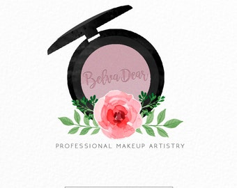 Premade Logo Design   Makeup Artist Logo   Beauty Logo   Floral Logo   Pink Logo   Watercolor Logo   Professional Makeup Artist    MUA Logo