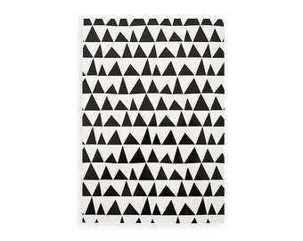 "Notebook ,Illustrated Notebook - 100 lined sheets - A5 14.8cmX21cm (5.8"" X 8.3"")  Triangles pattern Notebook, Lined notepads"