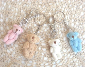 Tiny Fabric Teddy Bear Bag Clips & Key-rings. Little Girl Gift Idea. Pink, Blue, White, Book Bag Clips, Keychains. Cute Accessories.