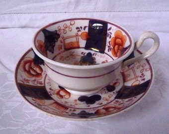 Antique Early-Mid 19thc. Gaudy Welsh Tea Cup and Saucer 'Buckle' Pattern