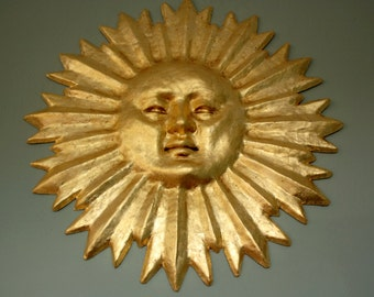 24kt Gilded Sun Mask Wall Decor Made to Order