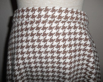 Cute Vintage Retro 1970s Brown & Cream Houndstooth Dogstooth (Hounds Tooth Dogs Tooth) Skirt UK Size 14 16