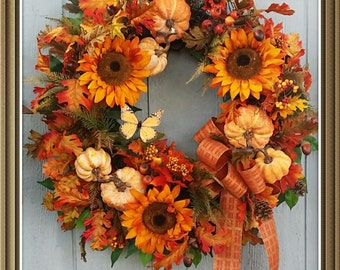 Fall Wreath,Large Fall Wreath,Sunflower Wreath,Squirrel Wreath,Pumpkin Wreath,Designer Wreath,Grapevine Wreath,Autumn Wreath