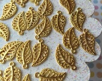 Gold leaf charms - leaf pendant - 10 pieces - Golden leaf for charm bracelets, necklace, planner accessories