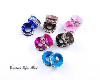 25 spacers beads with rhinestone - 5 colors for European bracelet (C-106) European beads