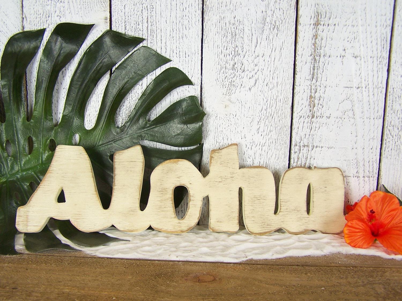 Wooden Aloha Sign Beach Decor Wood Hello Sign Porch Decor