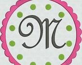 HUGE SALE INSTANT Download Embroidery Machine Fonts Pretty Script Alphabet Designs Pes format Polka Dot Scallop Frame