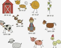 HUGE SALE INSTANT Download Machine Embroidery Designs Stick  Figures Farm 11 Files Pes Format Barn Cow Pig Chicken Farmer  Dog Cat Horse Exc