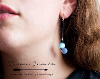 Sterling silver earrings with acrilic beads. Long earrings.