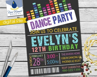 Printable Dance Party  Birthday Invitation / Dance Pass Party Invite