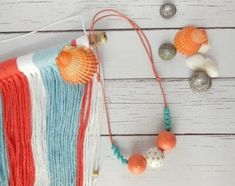 Beach babe wood bead necklace, coral & teal necklace, hand painted, statement jewelry, faceted beads, summer style. statement necklace
