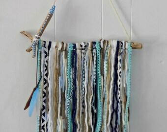 Baby blue yarn wall hanging, nursery decor, baby nursery decor, baby shower-gift, baby boy, baby decor, wall decor, wall art