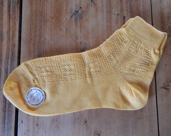 Soviet Vintage Kids Socks Retro Yellow Socks Ladies Cotton Mix Socks  Made in USSR