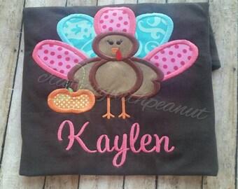 Girls turkey shirt, personalized girls fall shirt, turkey shirt, Happy Thanksgiving, turkey with pumpkin, preppy turkey