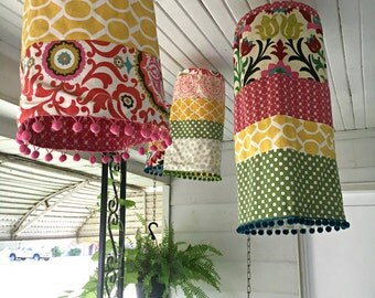 Double Sided Handmade Indian Inspired Cloth Hanging Lanterns Indoor Outdoor Pendant