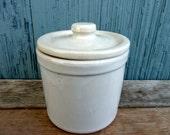 Gray stoneware storage canister with lid, vintage, light grey glaze
