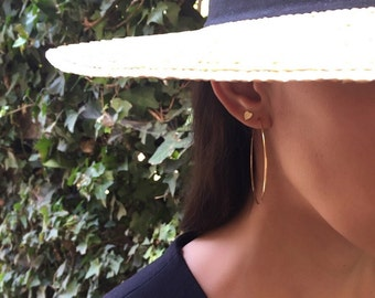 14k gold large hoop earrings, 14k solid gold