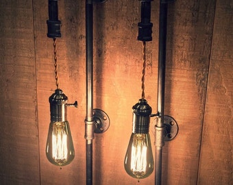 PAIR Tall Plug-In/Hardwired Sconces Industrial Pipe Lights + FREE Filament Bulbs!!