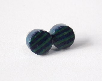 Shabby Chic Blue Round Wooden Stud Earrings