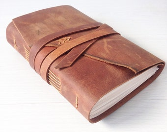 Sketchbook, Leather bound journal, leather notebook, leather travel journal, caramel, tobacco, a6