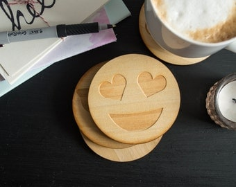 Wooden Emoji Coasters, coasters set,  funny gifts, emoji coasters, wooden coasters, Of the Town coasters, gifts for roommates