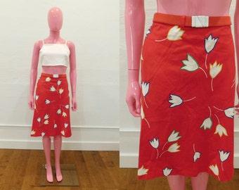 Vintage 70's Bright Red Floral Print A Line Knee Length Belted Skirt - Size Large