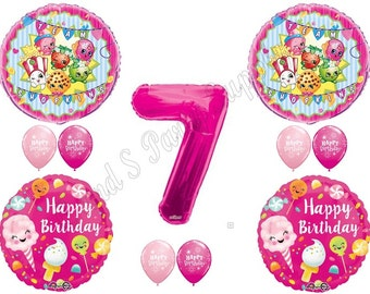 SHOPKINS 7th Sugar Filled Birthday Balloons Decoration Supplies Party Cupcake Cookie Blossom Seventh