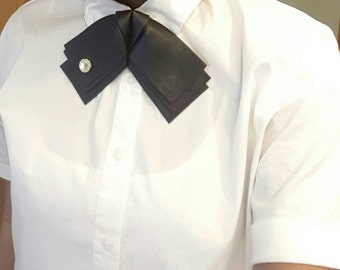 Faux leather bowtie