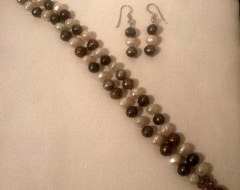 Faceted Pearl Bracelet and earring set