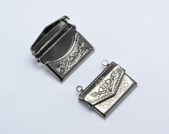 10pcs Purse Lockets in Gun Metal, Handbag Lockets, Vintage Locket, Message Lockets, Secret Compartment, Locket Supplies #SD-S8290