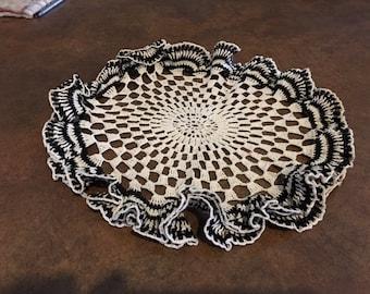 vintage handmade ruffle doily black and white old crochet linen