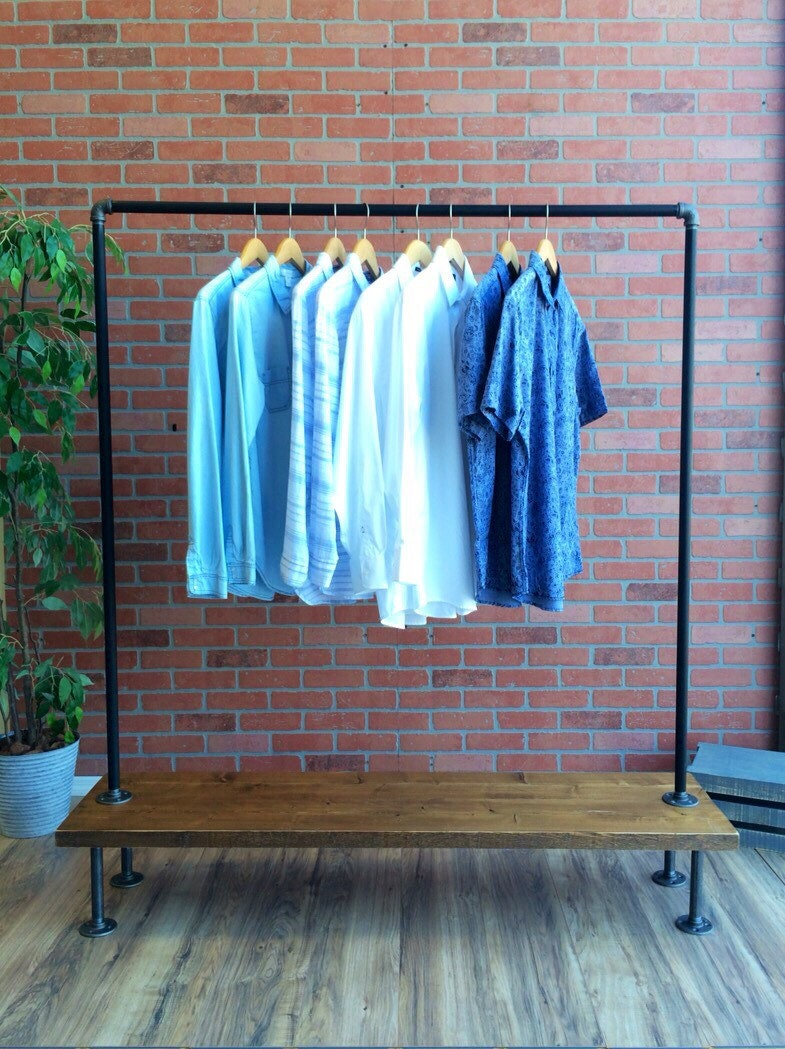 industrial pipe clothing rack with cedar wood shelf 48. Black Bedroom Furniture Sets. Home Design Ideas