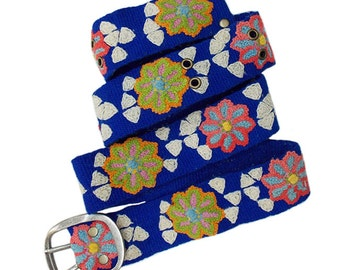 Flowers & Triangles Hand Embroidered Belt size large only