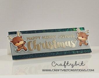 Happy Merry Joyous Christmas | Cute Handmade Greeting Card | Raindeers