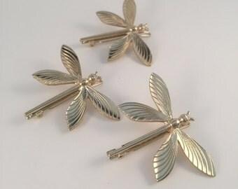 Dragonfly barrette, barrette, hair pin, hair clip, gold hair pin, hairpin, dragonfly, hair accessories, hair jewelry, hair jewellery