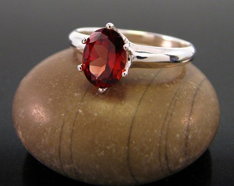 Garnet ring sterling silver garnet ring, January Birthstone Ring genuine garnet ring silver ring size 3 4 5 6 7 8 9 10 11 12 13