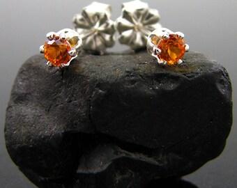 Orange earrings, orange topaz earring, topaz stud, orange studs 3 mm sterling silver