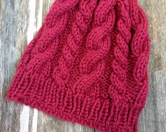 Cable Knit Hat - Raspberry - Adult - Ready to Ship