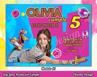 Soy Luna Invitation for Birthday Soy Luna Birthday, Soy Luna Invitation, Soy Luna, Soy Luna Printable, Soy Luna Invite - Digital File