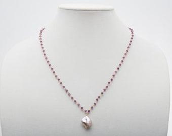Lavender Keshi Freshwater Pearl and Amethyst Pendant