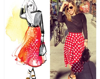 Custom fashion illustration. Watercolor custom illustration from photo. Fashion illustration. Best friend portrait gift. DIGITAL FILE