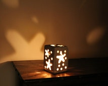Stone candle holder with star and moon, beautiful visual effect in the dark, handmade.