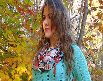 Santos - womens infinity scarf, tribal scarf, lightweight scarf,