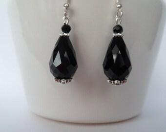 black teardrop earrings, black crystal earrings