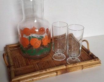 Vintage Orange Juice Carafe, Pitcher and Two Glasses