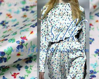Little flowers Printed Silk Fabric. SSB101431